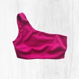 Forever 21 Magenta Asymmetric Crop Top